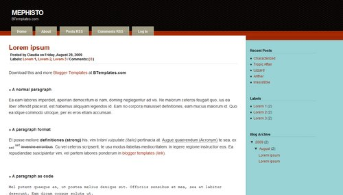 Free Mephisto Responsive Blogger Template