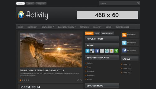 Free Activity Responsive Blogger Template