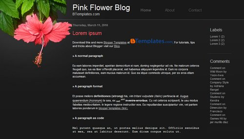 Free Pink Flower Responsive Blogger Template
