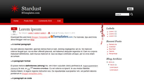 Free Stardust Responsive Blogger Template