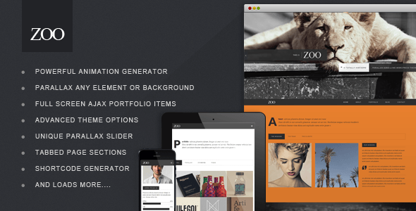 Zoo One Page Responsive Portfolio WP Theme
