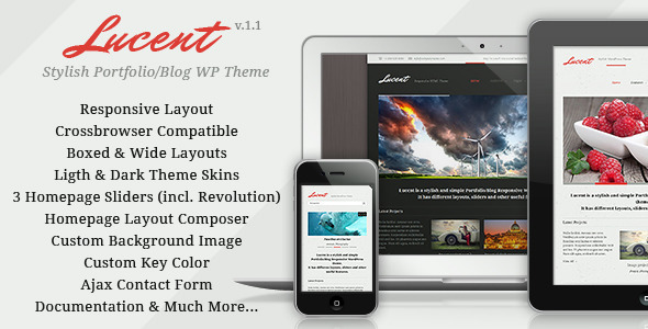 Lucent Blog Responsive Portfolio WP Theme