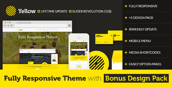 Yellow Fully with Design Pack WordPress Portfolio Theme