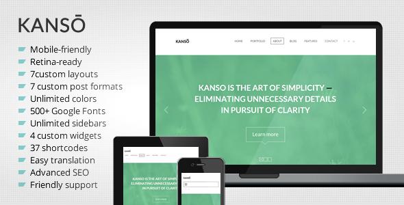 Kanso Clean OnePage Responsive Portfolio WP Theme