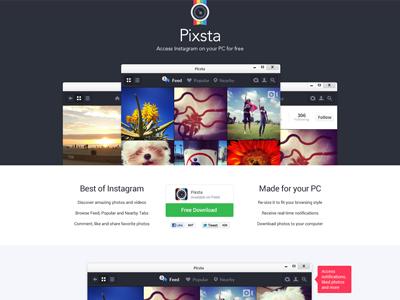 Free PSD Pixsta desktop Instagram app landing page | pokki | ui