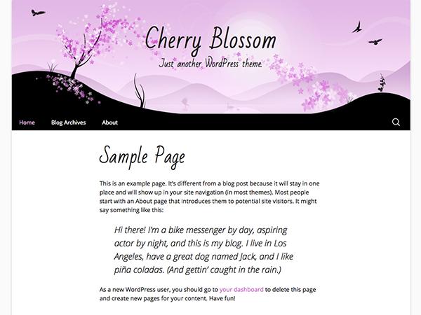 freebie  cherry blossom wordpress theme