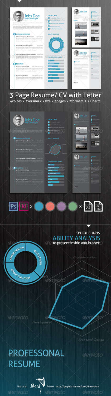 3 page resume cv with letter INDD PSD template
