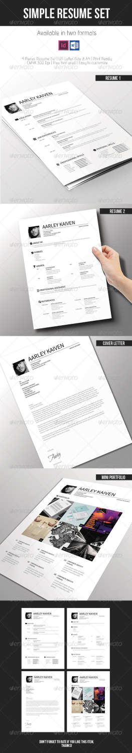 simple resume set INDD template