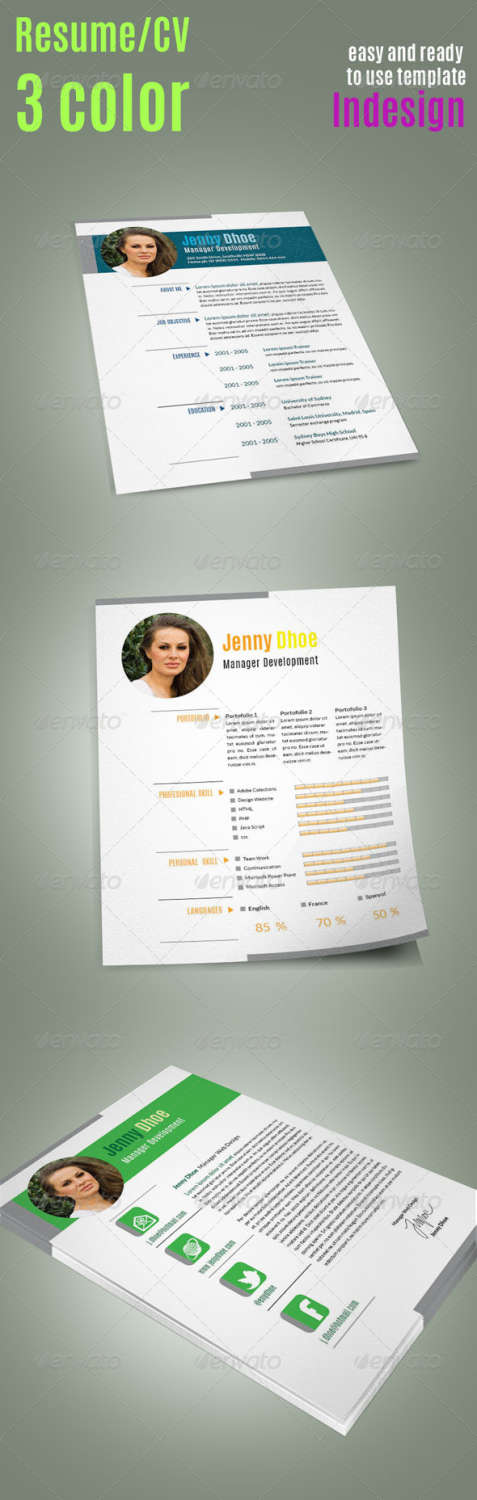 3 pages resume INDD template
