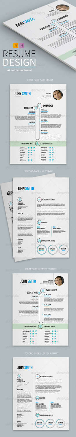 clean resume design AI INDD EPS template