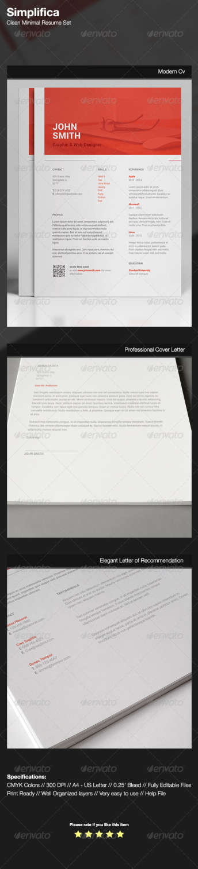 simplifica clean minimal resume set PSD template