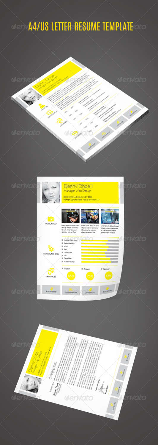 a4us letter resume INDD template