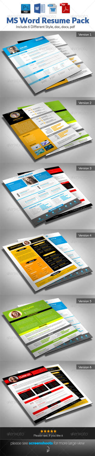 ms word resume pack PSD template
