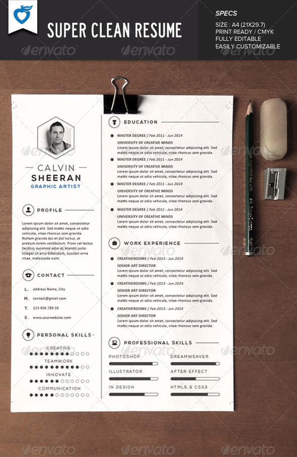 super clean resume AI EPS JPG template