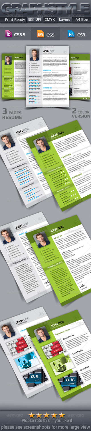 3 page resume AI INDD EPS PSD template