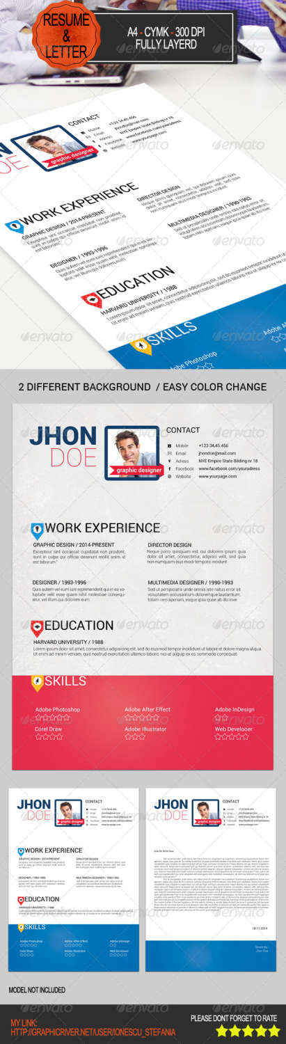 resume letter PSD template