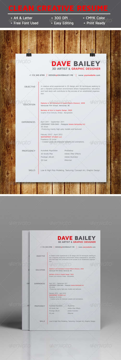 clean creative resume v1 AI EPS template