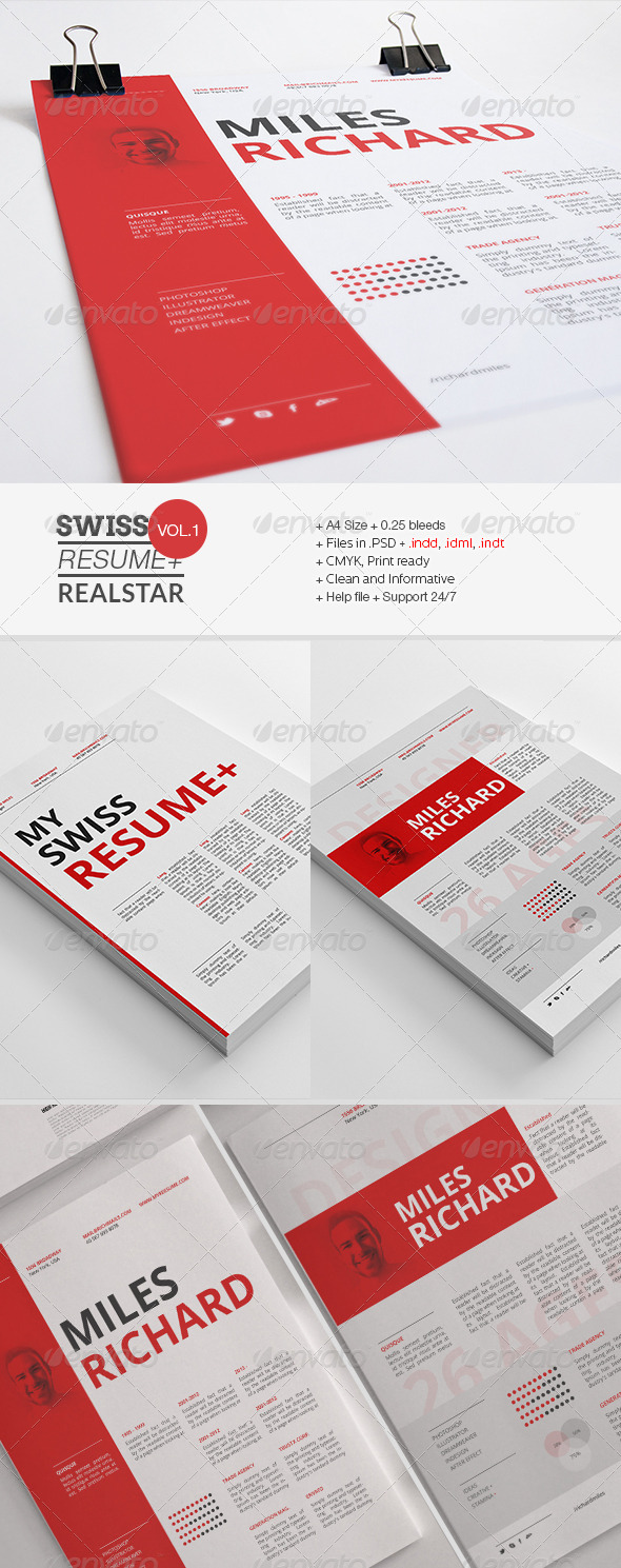 swiss resume INDD PSD template