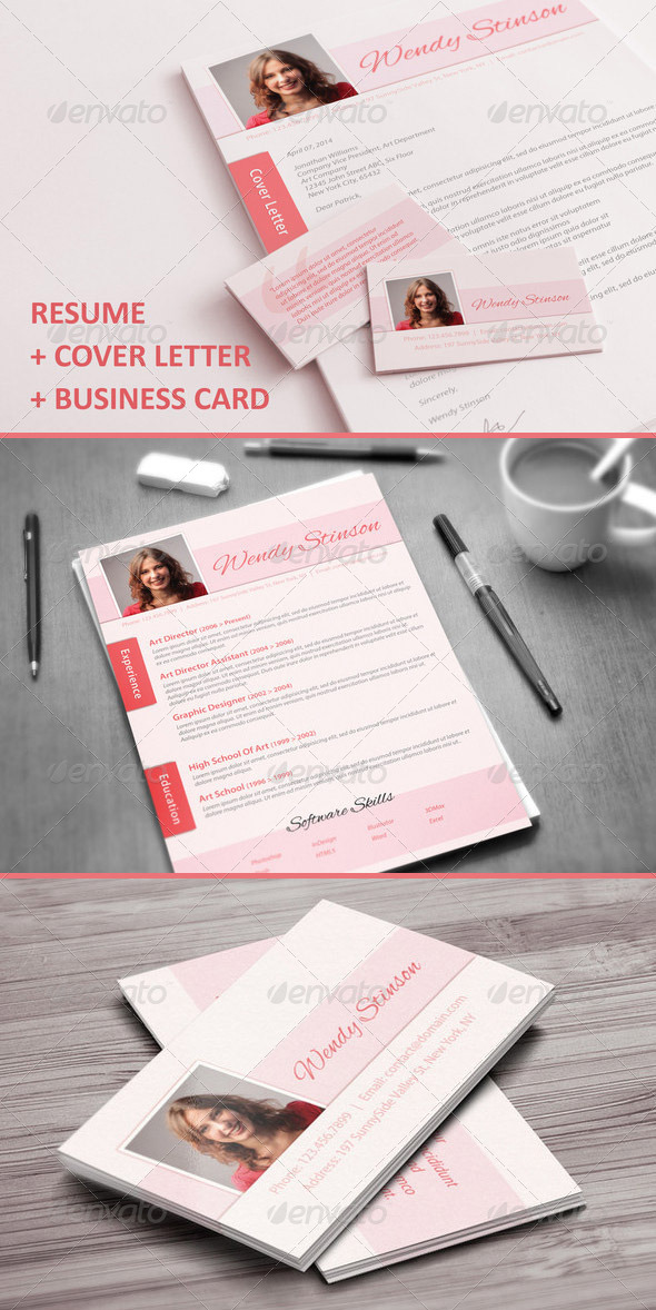 resume, cover letter business card PSD template