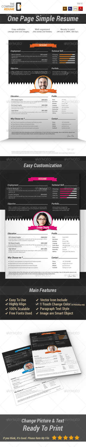 one page simple resume AI EPS PSD template