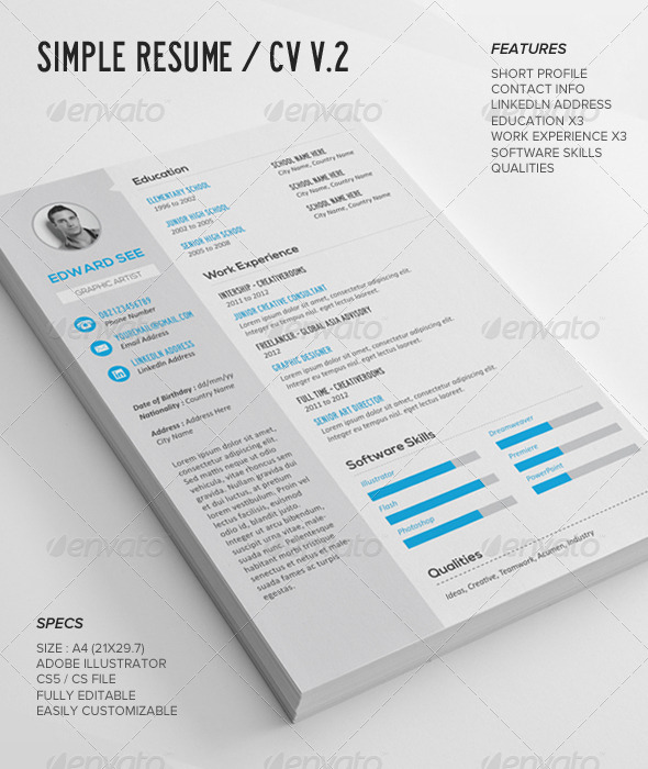 simple resume cv v2 AI EPS JPG PNG PNG template