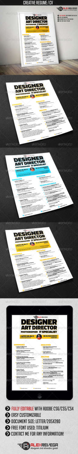 creative resume 3 piece AI INDD EPS template
