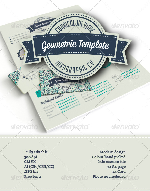 geometric infographic resume AI EPS template