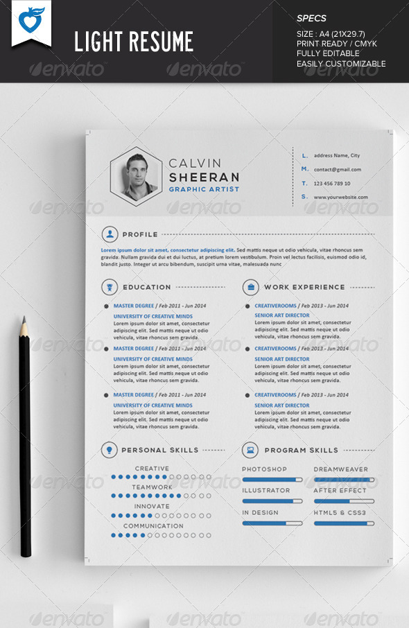 light resume AI EPS JPG template