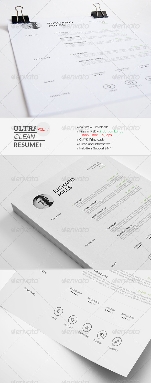 ultra clean resume AI INDD EPS PSD template