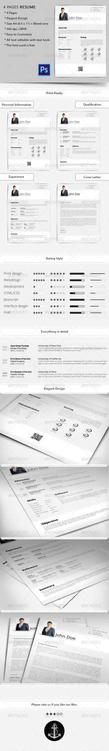4 pages resume PSD template