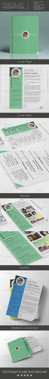 mimalism 4 pieces of resumecv and portfolio PNG PSD template