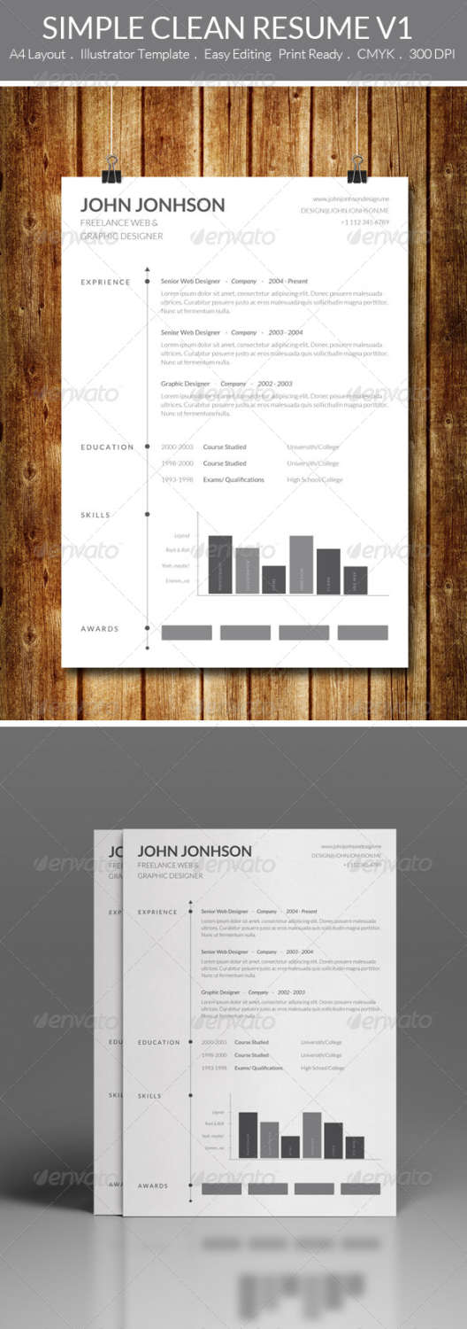 simple clean resume v1 AI EPS template