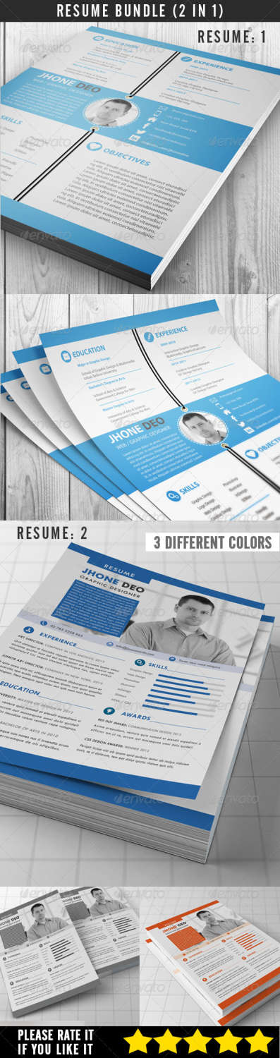 resume bundle 2 in 1 PSD template