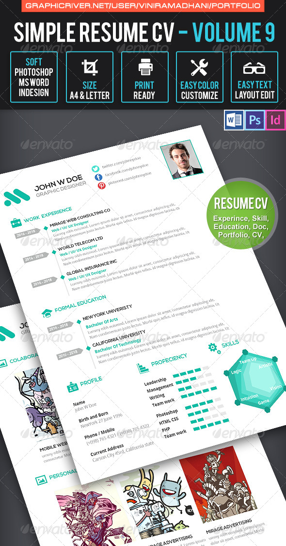 simple resume cv volume 9 INDD PSD template