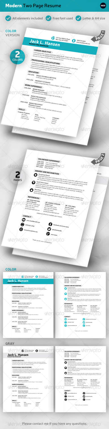 modern 2page resume INDD template