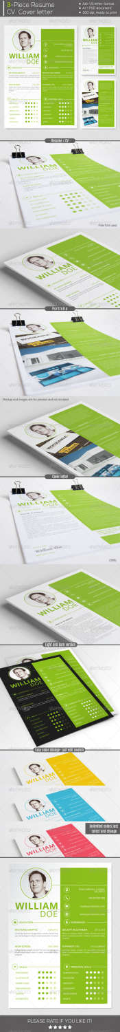 simple and clean resume AI EPS PSD template