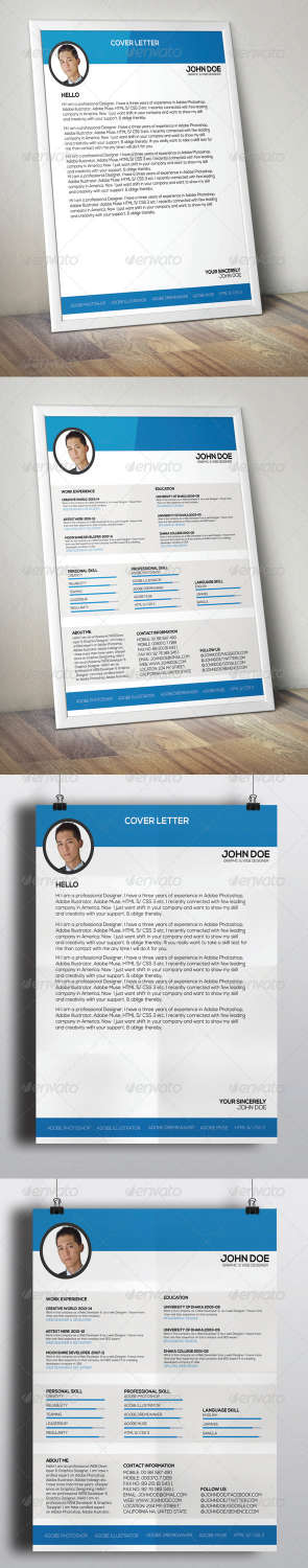 clean resume PSD template