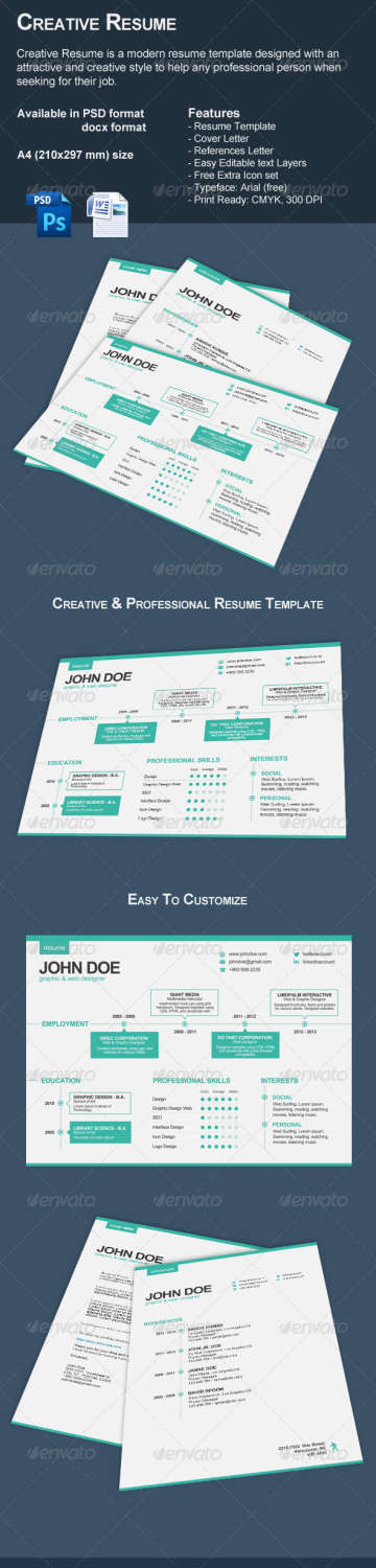 3piece creative resume set PSD template