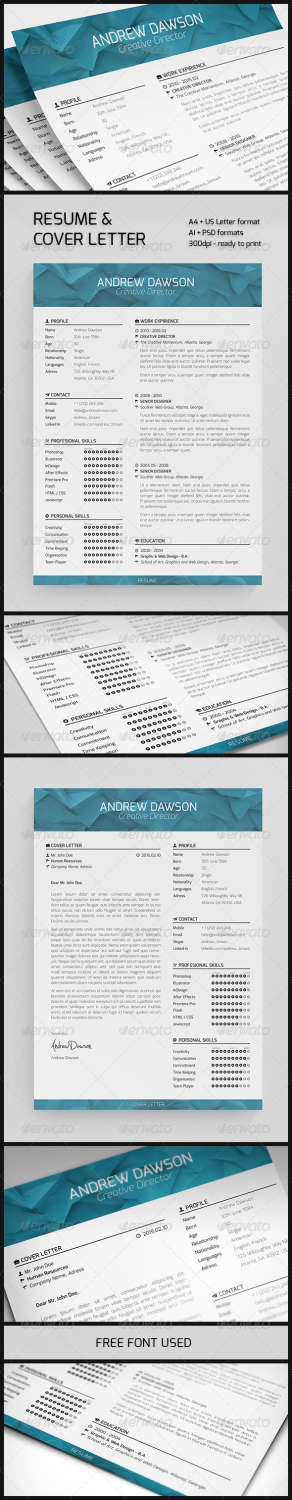 resume and cover letter AI EPS PSD template