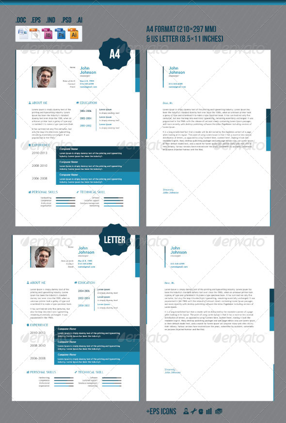 business resume AI INDD EPS PSD template