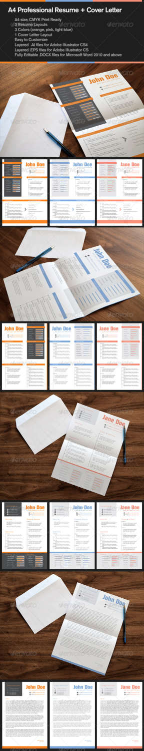 professional resume and cover letter AI EPS template