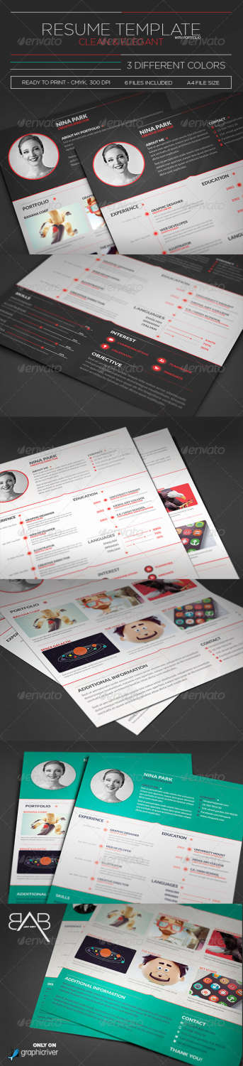 clean elegant resume PSD template