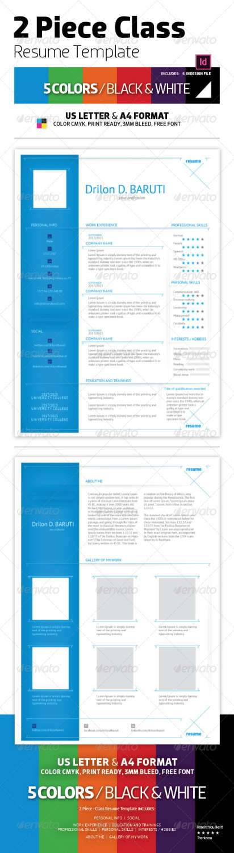 2 piece class resume INDD JPG template