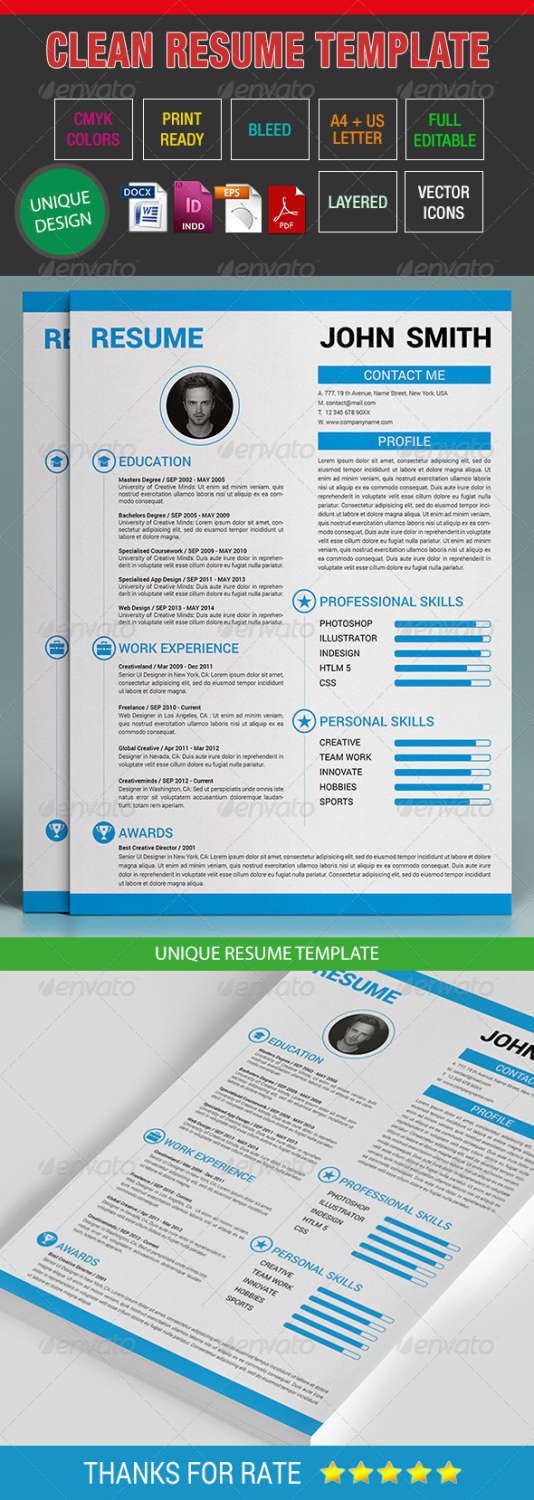 Premium Cv Resume Templates In Indd Eps  Psd  Xdesigns