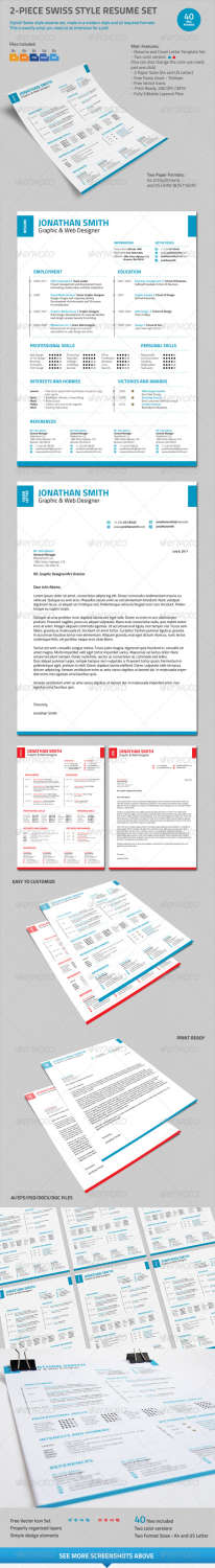 2piece swiss style resume set AI EPS PSD template