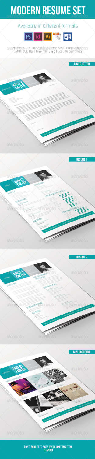 modern resume set INDD template