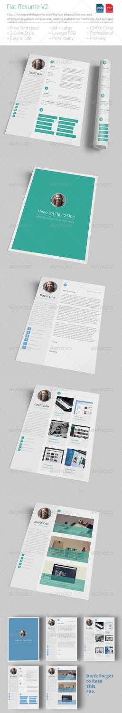 flat resume v2 PSD template