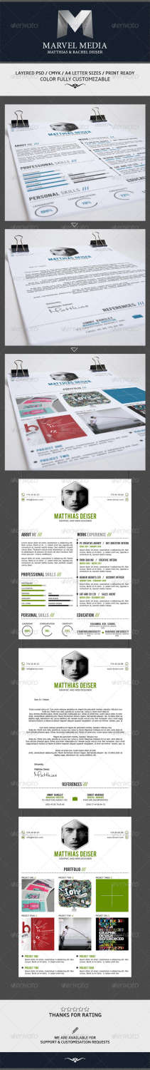 3piece clean resume set PSD template