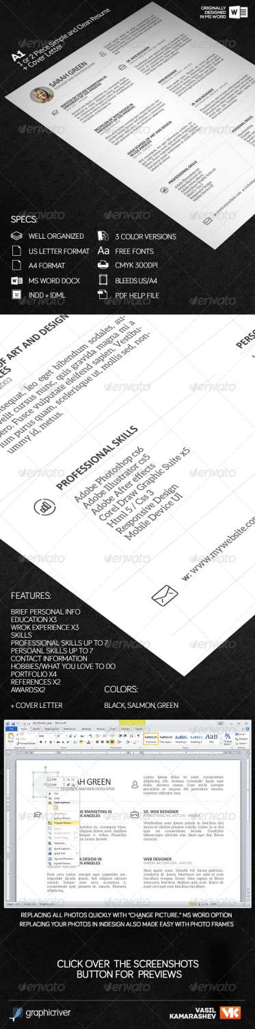 a1 1 or 2 piece simple and clean resume INDD template
