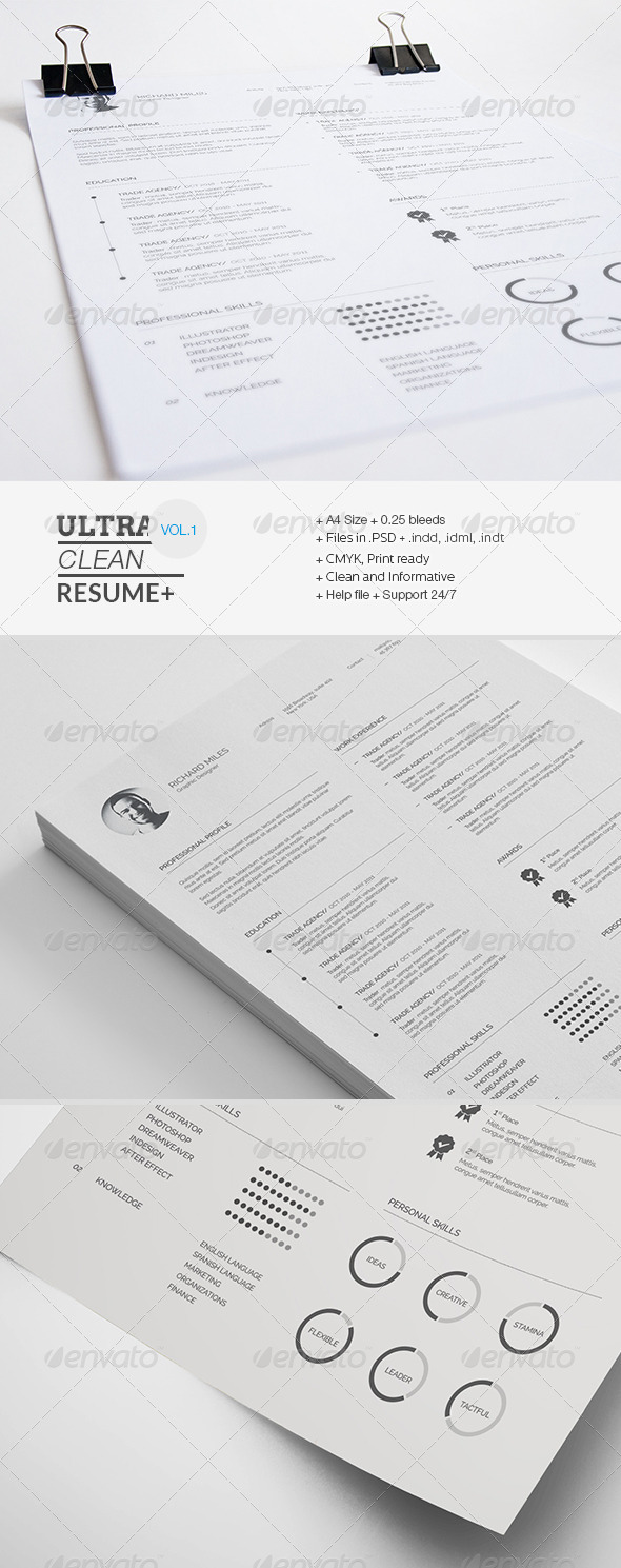 clean resume INDD PSD template